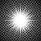 White glowing light burst explosion on transparent background. Bright flare