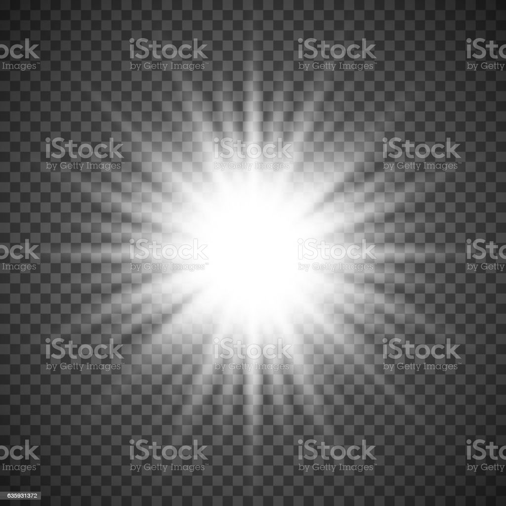 White glowing light burst explosion on transparent background. Bright flare vector art illustration
