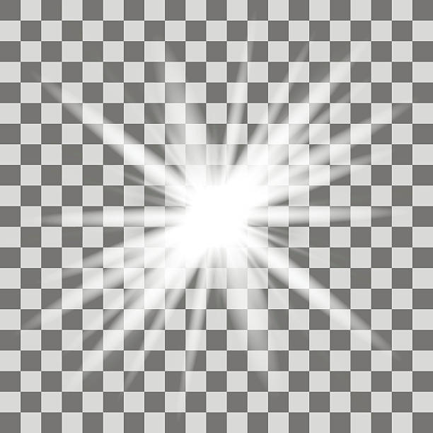 white glowing light burst explosion with transparent - 카메라 플래시 stock illustrations