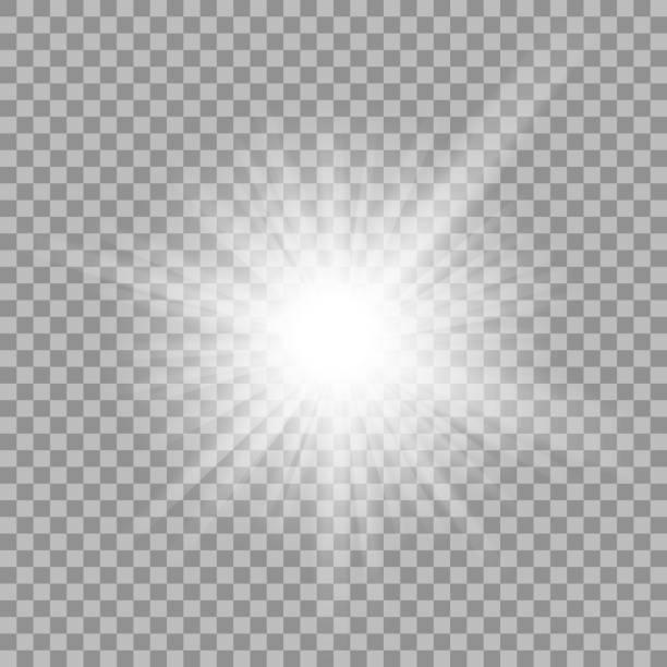 white glowing light burst on transparent background - 明亮 幅插畫檔、美工圖案、卡通及圖標