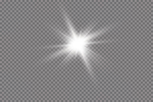 white glowing light explodes on a transparent background. with ray. transparent shining sun, bright flash. the center of a bright flash. - glowing stock illustrations