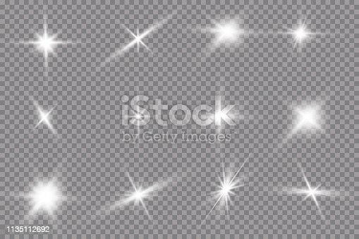 White glowing light explodes on a transparent background. with ray. Transparent shining sun, bright flash. The center of a bright flash