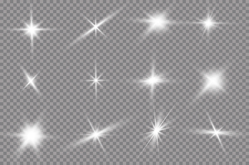 White glowing light explodes on a transparent background. with ray. Transparent shining sun, bright flash. The center of a bright flash. clipart