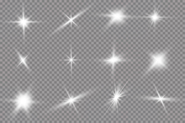 White glowing light explodes on a transparent background. with ray. Transparent shining sun, bright flash. The center of a bright flash. White glowing light explodes on a transparent background. with ray. Transparent shining sun, bright flash. The center of a bright flash glitter stock illustrations