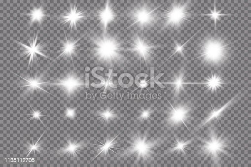 istock White glowing light explodes on a transparent background. with ray. Transparent shining sun, bright flash. The center of a bright flash. 1135112705