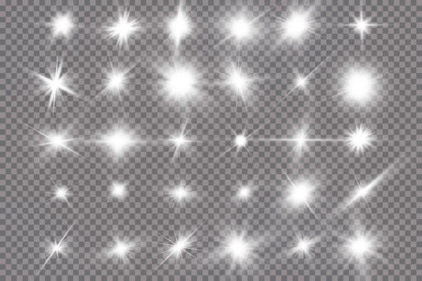 White glowing light explodes on a transparent background. with ray. Transparent shining sun, bright flash. The center of a bright flash. White glowing light explodes on a transparent background. with ray. Transparent shining sun, bright flash. The center of a bright flash 一本道 stock illustrations