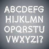 White Glowing Neon Alphabet