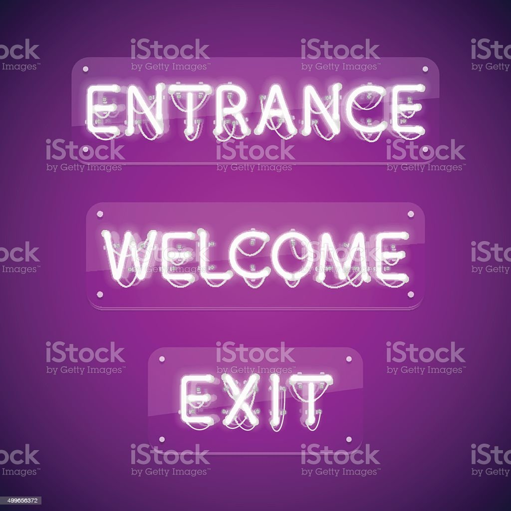 White Glowing Neon Entrance Signs vector art illustration