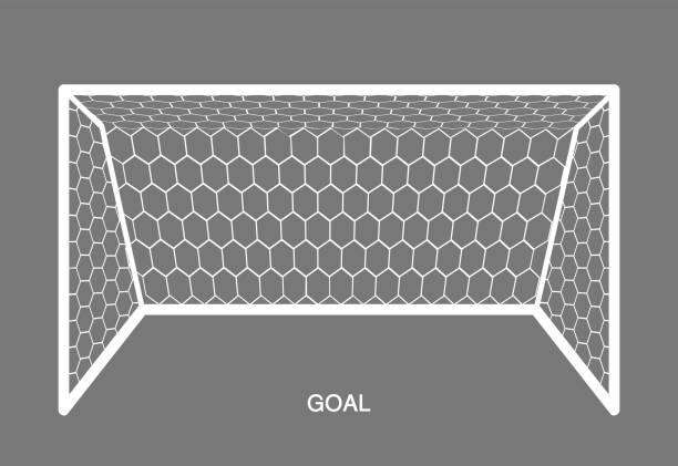 stockillustraties, clipart, cartoons en iconen met wit doel, voetbal element. - soccer goal