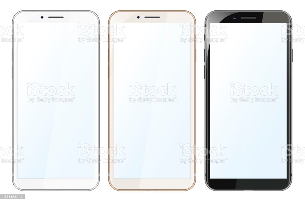 White, Gold and Black Modern Smartphones vector art illustration