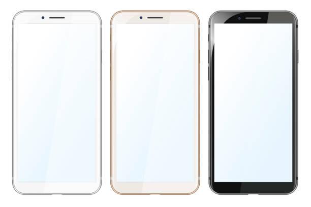 ilustraciones, imágenes clip art, dibujos animados e iconos de stock de blancos, oro y negros modernos smartphones - teléfono inteligente