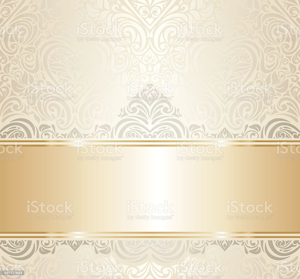 White Gold Vintage Invitation Background Design Royalty Free