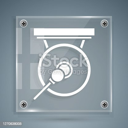 istock White Gong musical percussion instrument circular metal disc and hammer icon isolated on grey background. Square glass panels. Vector Illustration 1270638005