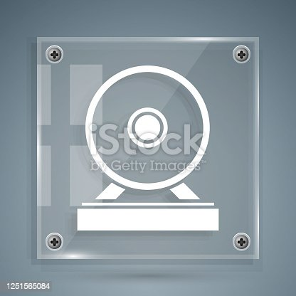 istock White Gong musical percussion instrument circular metal disc icon isolated on grey background. Square glass panels. Vector Illustration 1251565084
