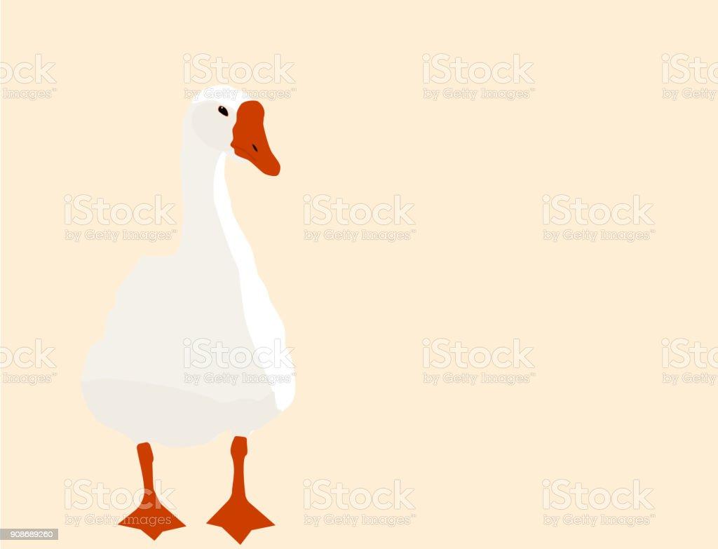 White goose, flat design, vector