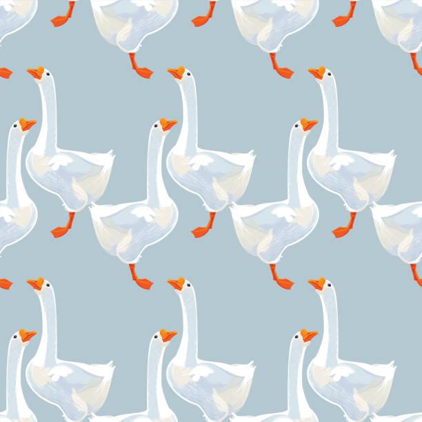 White Goose Seamless Pattern vector art illustration