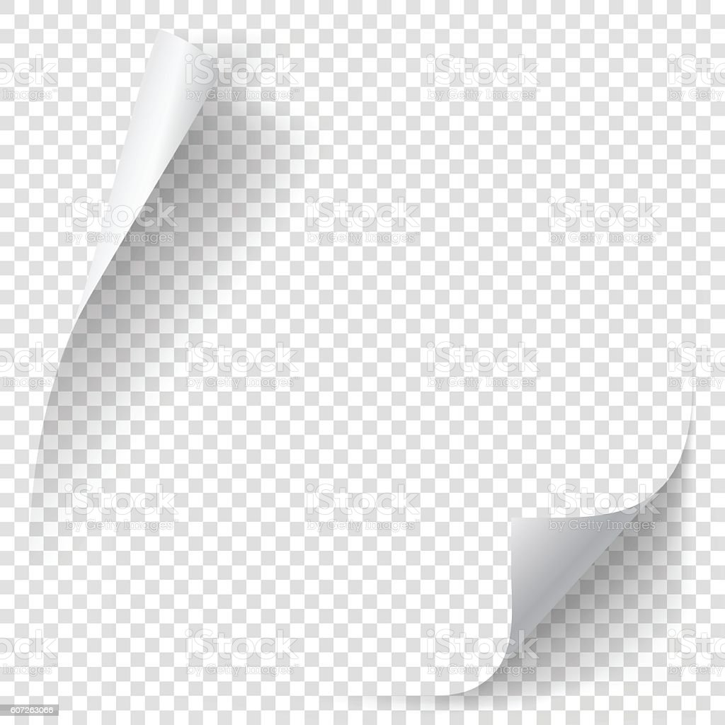 White gradient paper curl vector art illustration