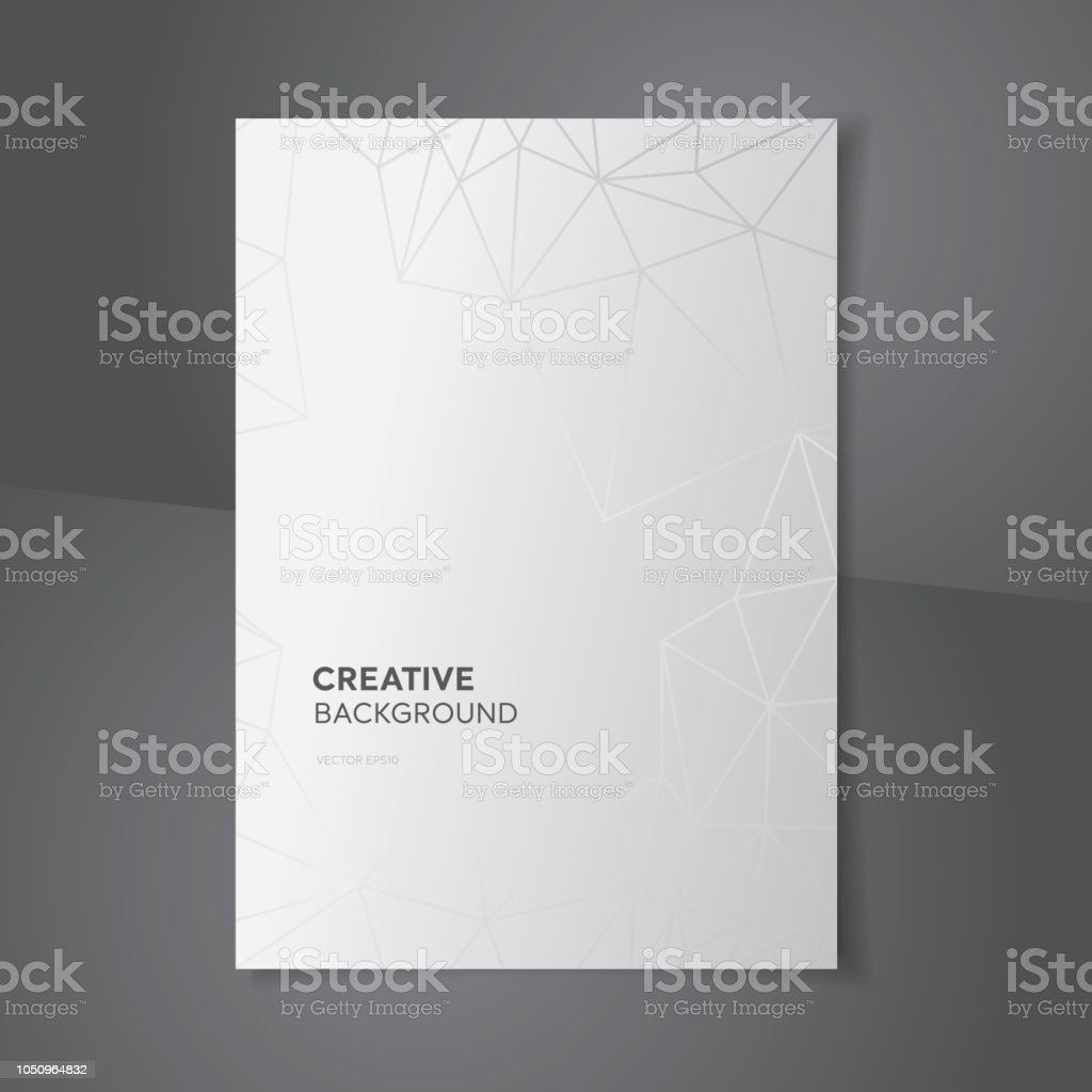 White Gray Gradient Background With Abstract Polygon Lines Stock