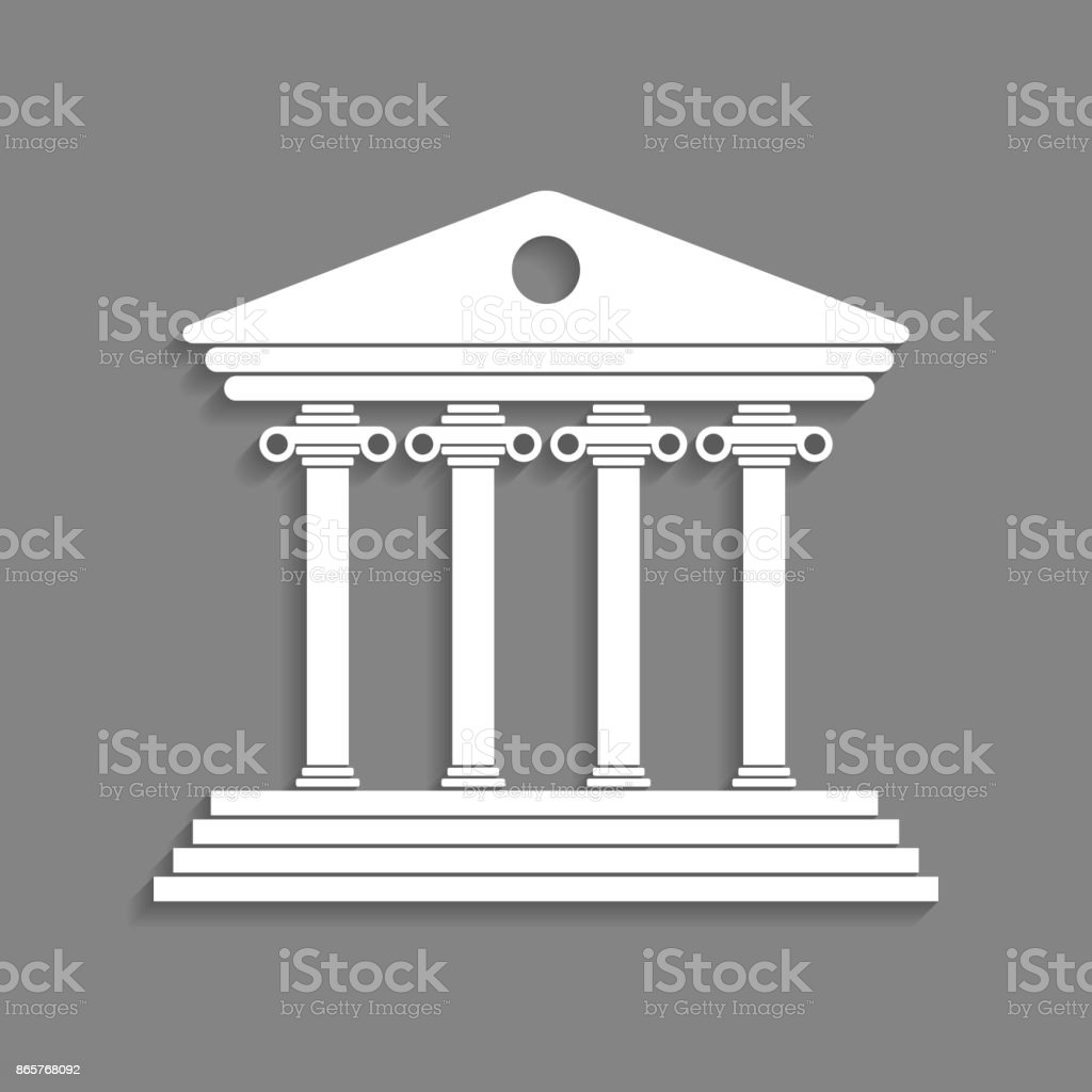 white greek colonnade isolated on dark grey background vector art illustration