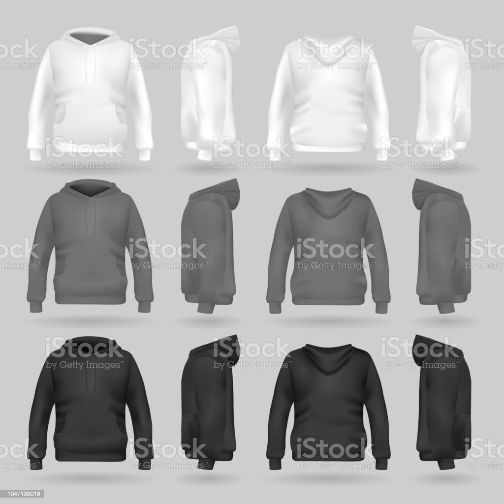 white grey and black sweatshirt hoodie template in four dimensions