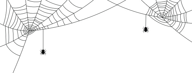 White Halloween banner with spiderweb and spiders.