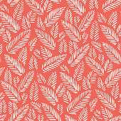 White hand drawn abstract herringbone leaves on red background vector seamless pattern. Tribal marks. Fresh floral print