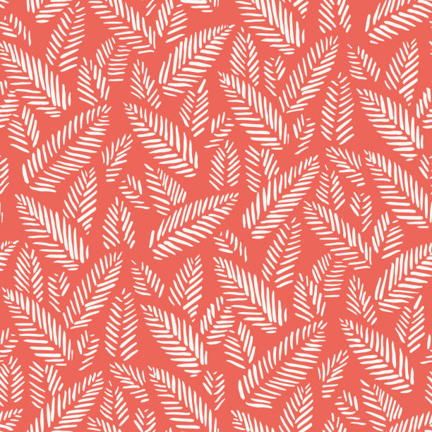 White hand drawn abstract herringbone leaves on red background vector seamless pattern. Tribal marks. Fresh floral print White hand drawn abstract herringbone leaves on red background vector seamless pattern. Tribal marks, stitches. Fresh floral print. Christmas Red. linocut stock illustrations