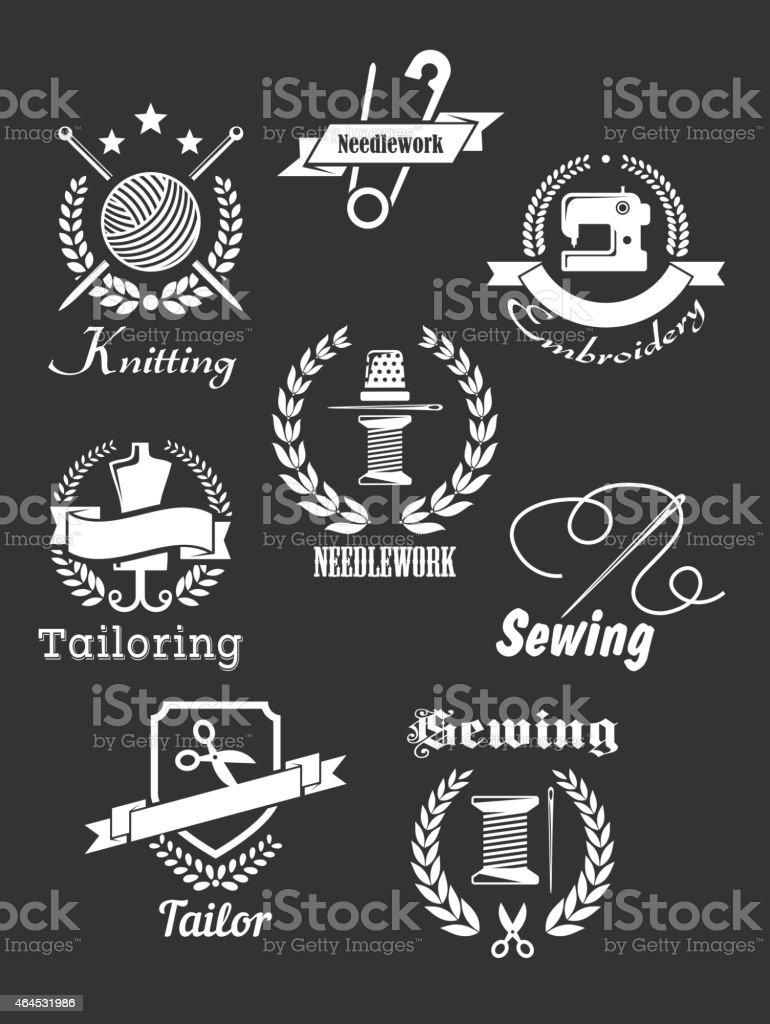 White handicraft icons on black vector art illustration