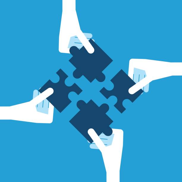 White hands holding puzzles Four white hands holding blue puzzle pieces. Teamwork, partnership and solution concept. Flat design. EPS 8 vector illustration, no transparency four people stock illustrations