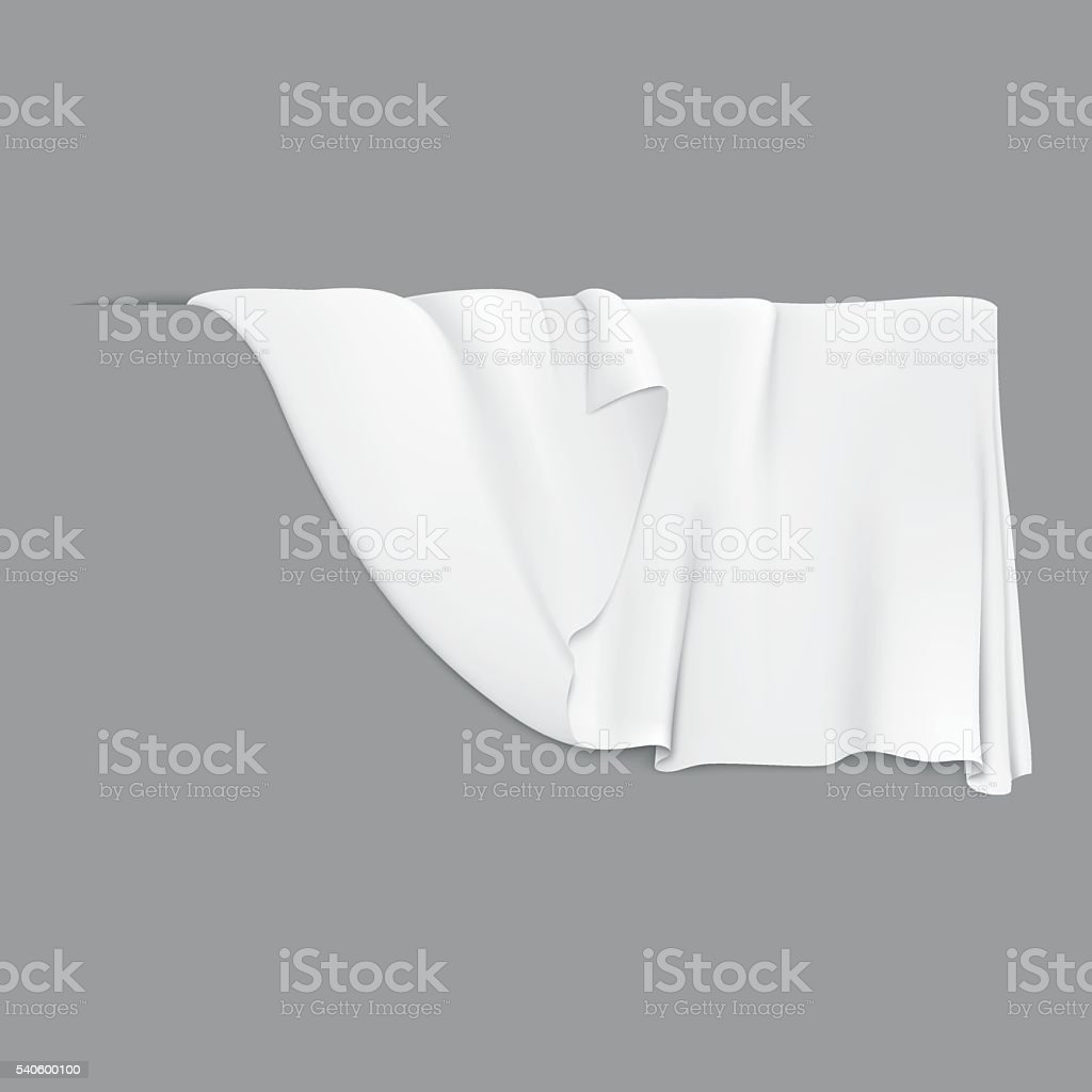 White hanging cloth. vector art illustration