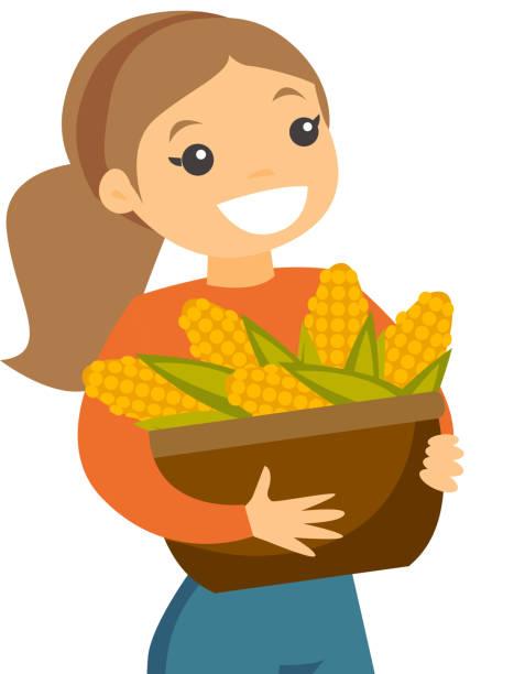 Eine weiße glücklich Frau mit einem Korb voller Maiskolben – Vektorgrafik