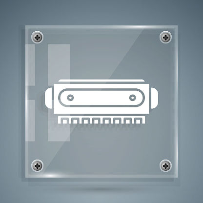 White Harmonica icon isolated on grey background. Musical instrument. Square glass panels. Vector Illustration