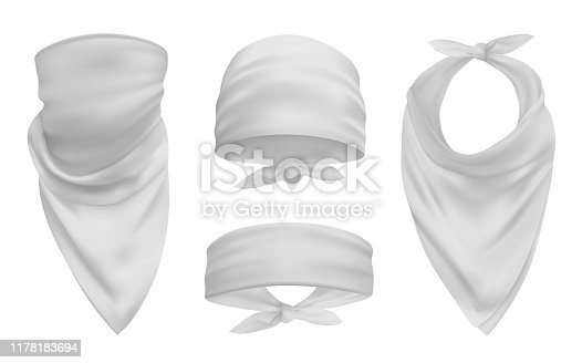 White head bandana realistic 3d accessory illustrations set. Biker and cowboy clothes for protecting face isolated pack. Fashionable silk headband, bandanna design elements collection