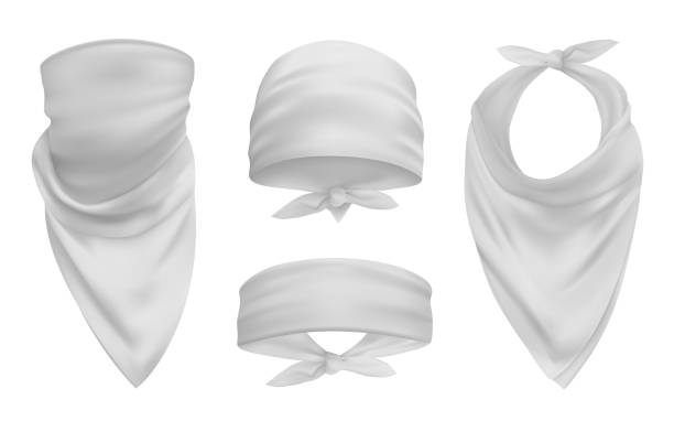 White head bandana realistic 3d accessory illustrations set vector art illustration