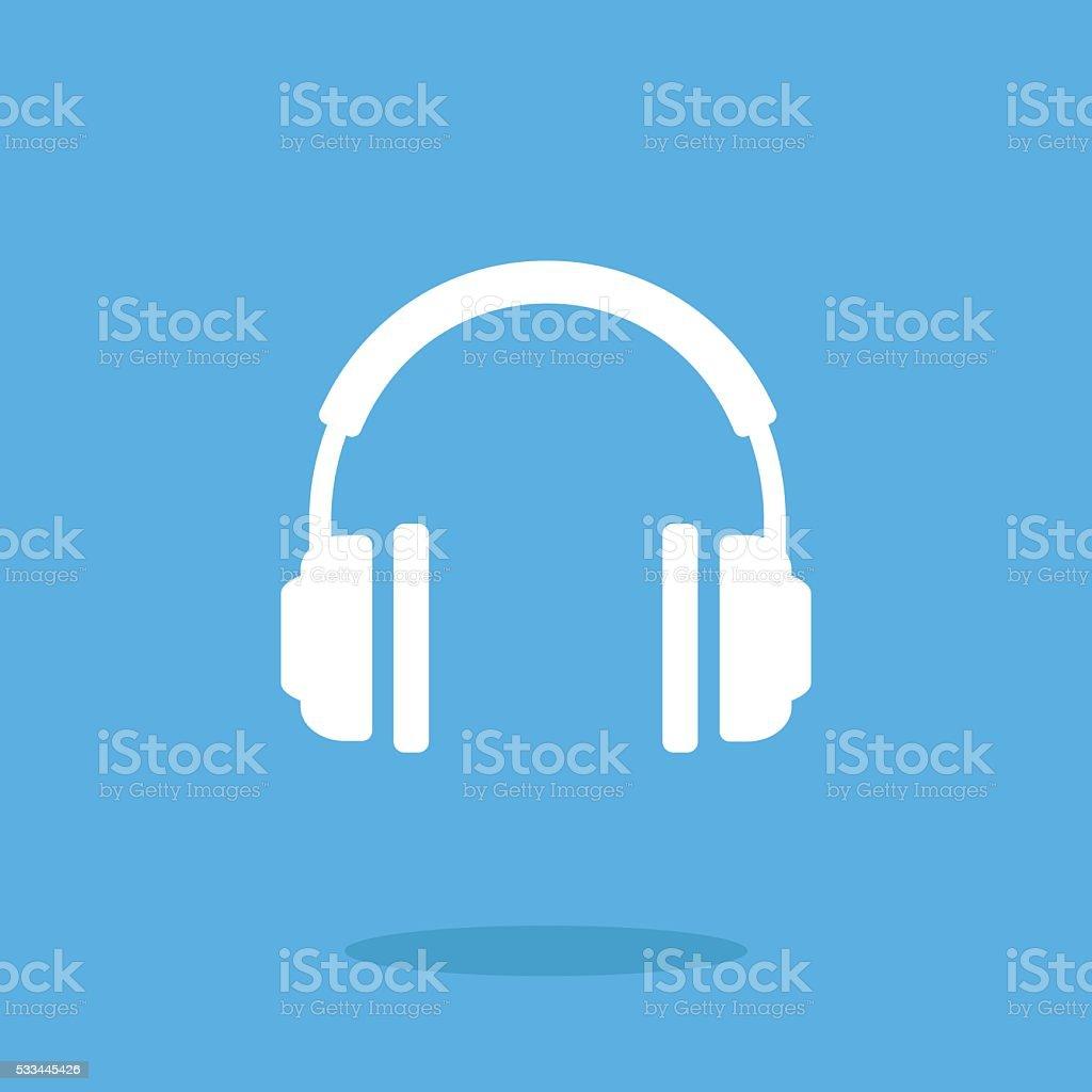 White headphones icon. Vector illustration