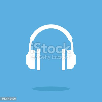 White headphones icon. Vector headphones pictogram. Vector illustration isolated on blue background