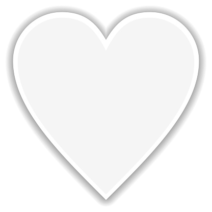White heart with shadow and white outline