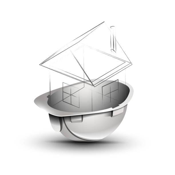 白色頭盔以大廈的佈局-載體 EPS10向量藝術插圖