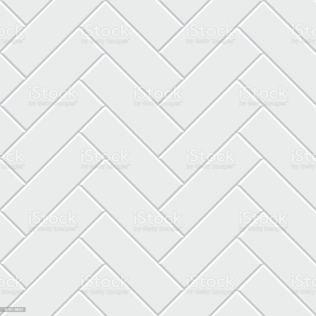 Weißes Parkett nahtlose Fischgrätmuster. Klassische endlose Fußboden-Dekoration – Vektorgrafik