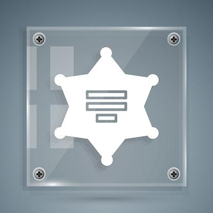White Hexagram sheriff icon isolated on grey background. Police badge icon. Square glass panels. Vector Illustration