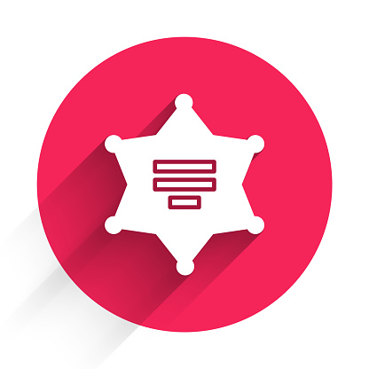 White Hexagram sheriff icon isolated with long shadow. Police badge icon. Red circle button. Vector Illustration