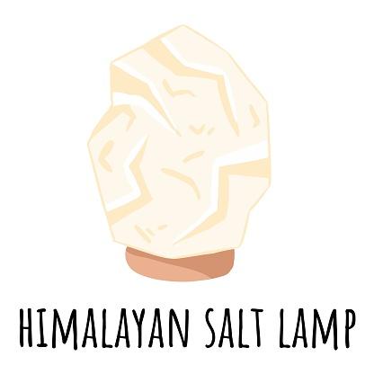 White Himalayan salt lamp. Vector logo template with salt crystal. Relax concept symbol spa image