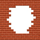 White hole in broken red brick wall. Textured background. Vector illustration.