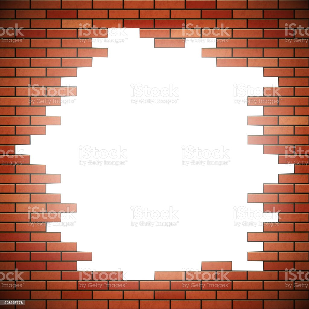 White hole in red brick wall vector art illustration