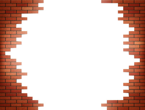White hole in red brick wall. vector art illustration