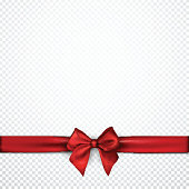 White festive background with red satin bow. Vector paper illustration.