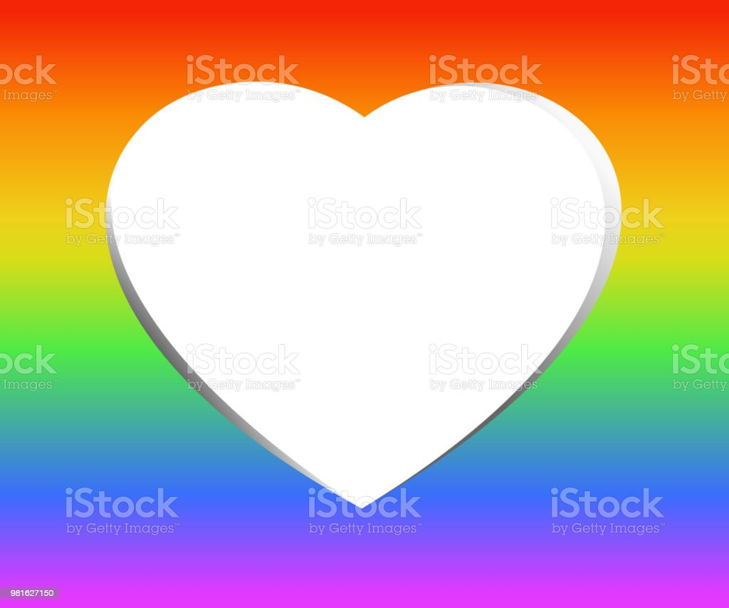 White Hollow Heart In Gradient Rainbow Colors The Symbolic Colors Of