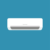 White home or office air conditioner isolated on blue background in vector style. App, website and operating system icons. Vector illustration, Adobe illustrator EPS10 compatible.