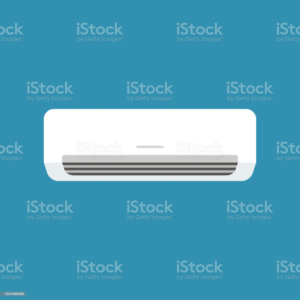 White home or office air conditioner isolated on blue background in vector style. App, website and operating system icons. Vector illustration, Adobe illustrator EPS10 compatible. vector art illustration