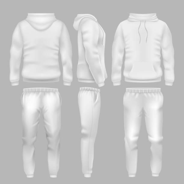 ilustrações, clipart, desenhos animados e ícones de moletom com capuz branco com calças de desporto. modelos de vetores de calça e agasalho de desgaste do esporte ativo - calça comprida